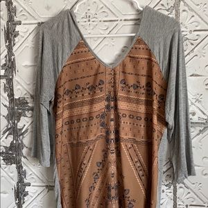 Brown paisley Maurice's blouse top